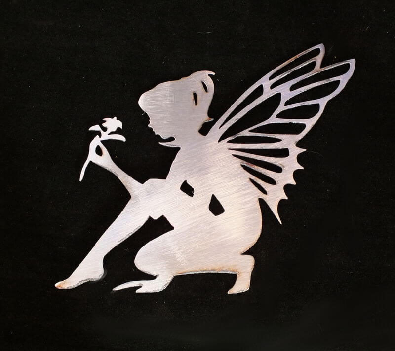 Stainless Steel Fairy with Flower Magnet Garden Art