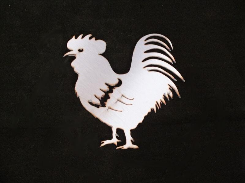 Stainless Steel Rooster Magnet Garden Art