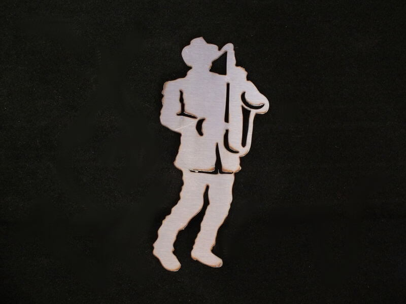 Stainless Steel Saxophone Player Magnet Garden Art
