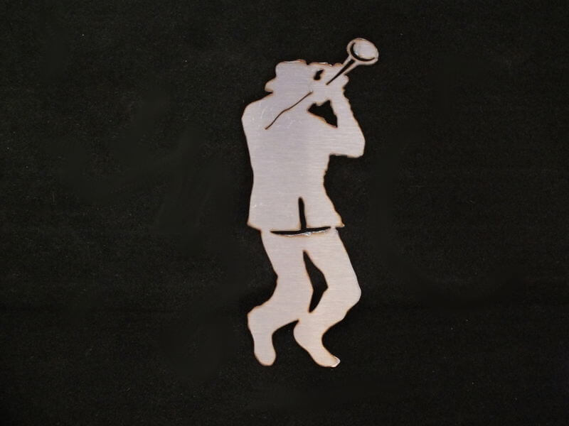 Stainless Steel Trumpet Player Magnet Garden Art