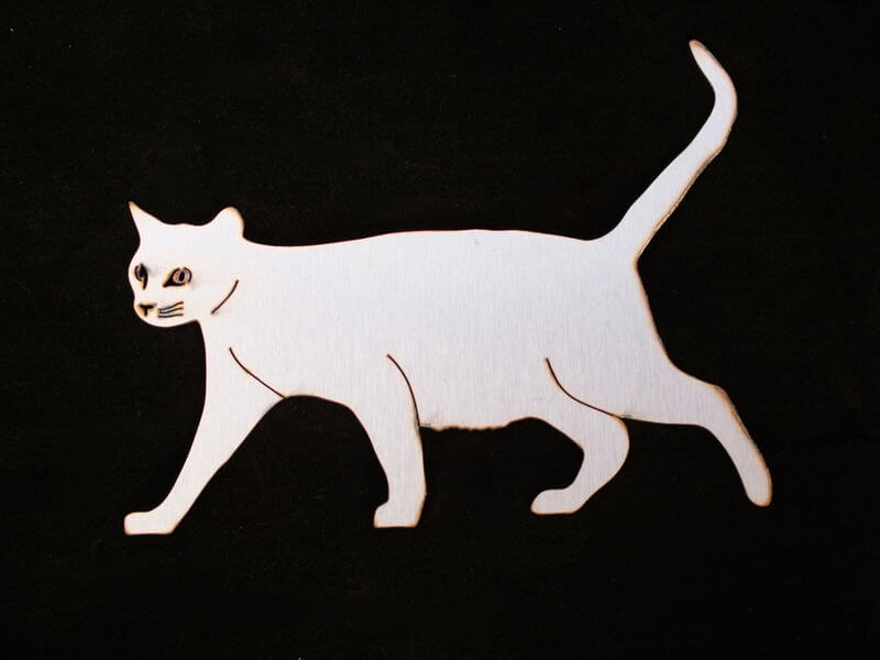 Stainless Steel Walking Cat  Magnet Garden Art