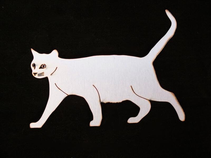 Stainless Steel Walking Cat  Magnet Garden Art