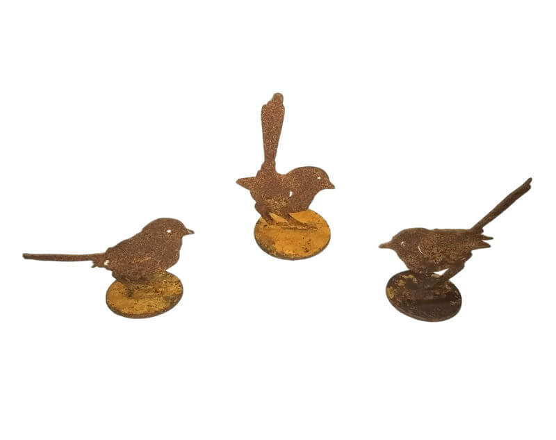 Three Wren Stand Set Garden Art