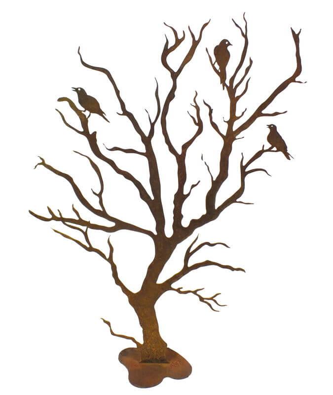 Tree with Three Birds Stand Garden Art