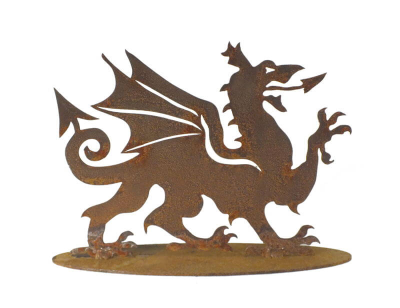 Welsh Dragon Stand Garden Art