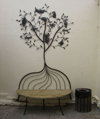 Individually made outdoor Steel furniture By Overwrought -Williamstown tree seat