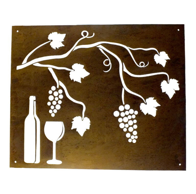 Wine Bottle and Grapes Wall Art