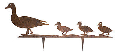 Wood Duck and Three Ducklings Wedge Stake
