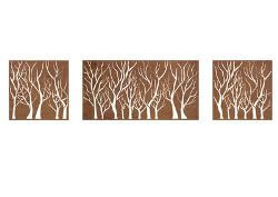 Forrest Box Metal Garden Wall Art Triptych