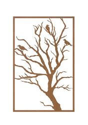 Bird Metal Garden Wall Art Panel Three