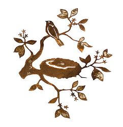 Bird Nest Metal Garden Wall Art Panel