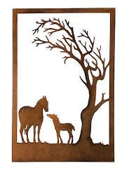 Horses Under Tree Metal Garden Wall Art