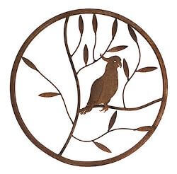 Cockatoo Round Metal Garden Wall Art
