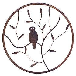 Owl Round Metal Garden Wall Art