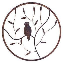Owl Round Metal Garden Wall Art