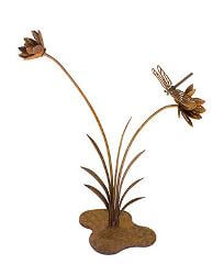 Flower Reed with Dragonfly Garden Art Small