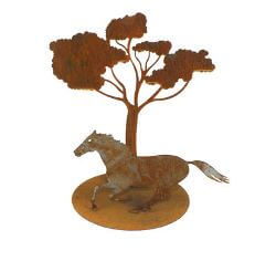 Running Horse Under Tree Garden Art