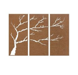 Bird Branch Triptych Privacy Screens