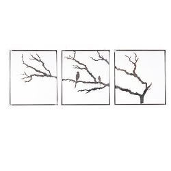 Three Panel Tree With Birds Garden Wall Art Triptych