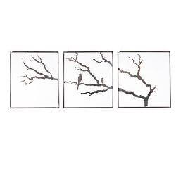 Three Panel Tree With Birds Garden Wall Art Triptych