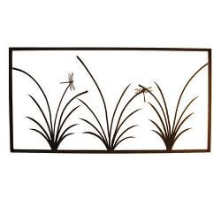 Three Reed Panel Garden Wall Art Large