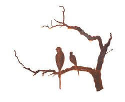 Two Birds on Branch Garden Wall Art