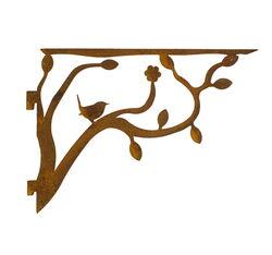 Bird on Branch Slotted Shelf Bracket One Garden Art