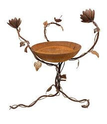 Birdbath with 3D Wren and Lotus Flowers