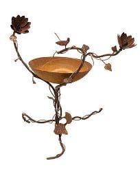 Birdbath with 3D Wren and Lotus Flowers