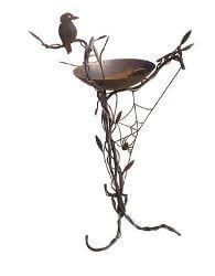 Birdbath with Kookaburra and Spiderweb