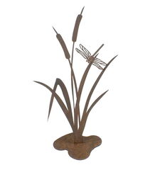 Bullrush with Dragonfly Stand Garden Art