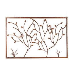 Butterflies on Branches Metal Garden Wall Art