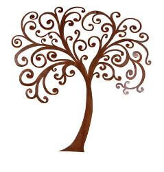 Curly Tree Metal Garden Wall Art