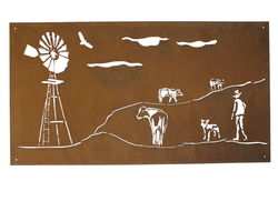 Drover and Windmill Metal Garden Wall Art Panel