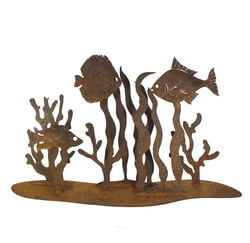 Fish In Seaweed Stand Garden Art