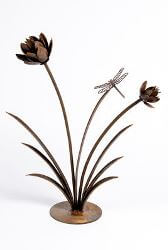 Flower Reed with Dragonfly Garden Art