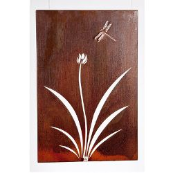 Flower and Dragonfly Box Metal Garden Wall Art