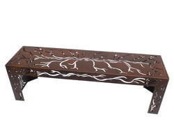 Garden Metal Bench Seat with Branch