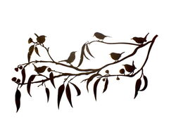 Gum Branch With Seven Wrens Wall Art