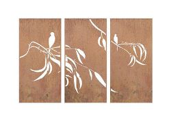 Gum and Bird Three Panel Triptych Screen