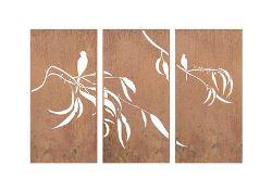 Gum and Bird Three Panel Triptych Screen