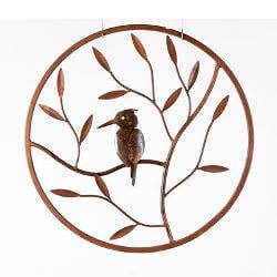 Kingfisher Round Metal Garden Wall Art