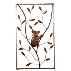 Koala on Tree Metal Garden Wall Art