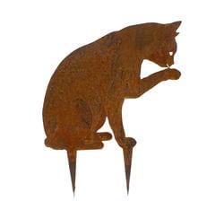 Cat Licking Paw Wedge Stake Garden Art