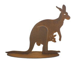 Large Kangaroo with Joey Stand Garden Art