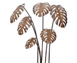 Unique Steel Garden art by Overwrought -Monstera Garden Stake set
