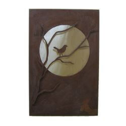 Moon Bird Box Metal Garden Wall Art