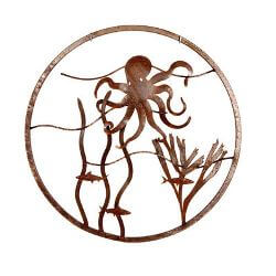 Octopus Round Metal Garden Wall Art
