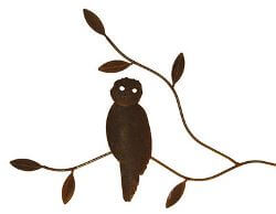 Owl On Branch Metal Garden Wall Art