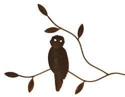 Owl On Branch Metal Garden Wall Art